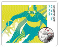 Alpine Skiing Card and Coin