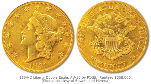 1854-O Liberty Double Eagle graded AU-50 by PCGS that realized $368,000