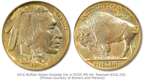 Buffalo Nickel Doubled Die Obverse in PCGS MS-64 that realized $316,250