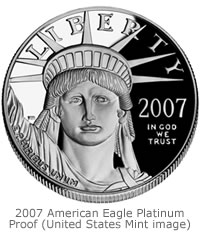 This 2007 American Eagle Platinum Proof coin is an example of one coin included in the new 10th Anniversary American Eagle Platinum Set. The other coin is an enhanced reverse proof American Eagle Platinum (no picture available).