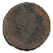 An example of a Roman coin, like the one found on an Olympic dig site