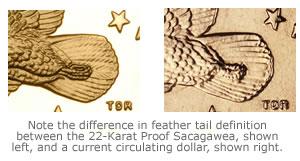 A 22-karat space coin design vs. a regular circulating Sacagawea design