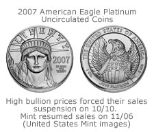 The resumption of sales of the United States Mint Platinum Uncirculated coins have resumed.