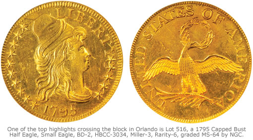 One of the top highlights crossing the block in Orlando is Lot 516, a 1795 Capped Bust Half Eagle, Small Eagle, BD-2, HBCC-3034, Miller-3, Rarity-6, graded MS-64 by NGC.