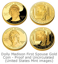 Dolley Madison First Spouse Gold Coin - Proof and Uncirculated images