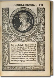 A medallion-like portrait of Roman Emperor Julius Caesar and ornate woodcut borders adorn page 16 in the world's first illustrated numismatic book, Illustrium Imagines, published in 1517. An original edition of the rare book was donated to the ANA Library by prominent collector, Dwight Manley. (Photo credit: American Numismatic Association/Douglas A. Mudd.)