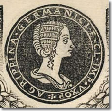 "A detail in the 1517 book, Illustrium Imagines, showing a medallion-like portrait of Julia Agrippina (""Agrippina the Younger""), sister of Emporer Caligula, wife of Emperor Claudius and mother of Emperor Nero. (Photo credit: American Numismatic Association/Douglas A. Mudd.)"