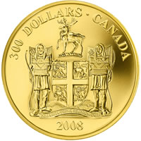 $300 Gold Coin - Provincial Coat of Arms: Newfoundland and Labrador  (Reverse)