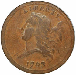 1793 Half Cent. B-2, C-2. Rarity-3. Vf-25 (pcgs).