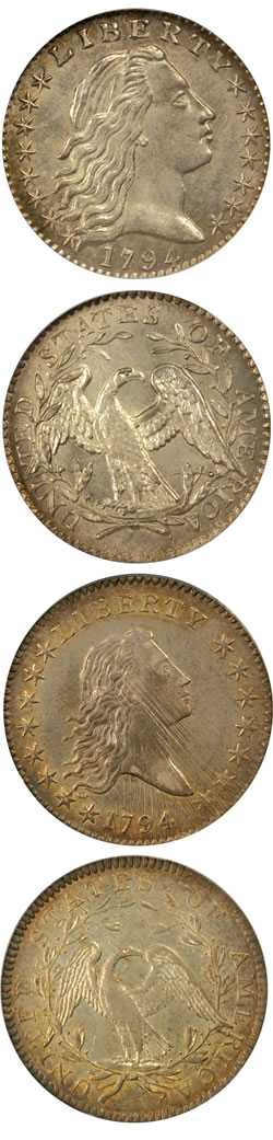 1794 Flowing Hair Half Dime. V-3, LM-3. Rarity-4. MS-67 (NGC) and 1794 Flowing Hair Half Dollar. O-106. Rarity-6. AU-58 (PCGS).