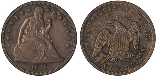 1870-S Seated Liberty Dollar Eliasberg Specimen for $1.3 million to Certified Acceptance Corp