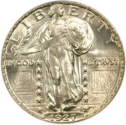 1927-S Standing Liberty Quarter (Obverse) certified MS-65 Full Head by PCGS
