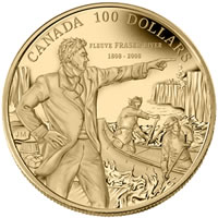 200th Anniversary Fraser River $100 Gold Coin (Reverse)