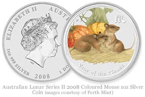 Australian Lunar Series II 2008 Coloured Mouse 1oz Silver Coin images courtesy of Perth Mint)