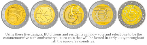 Commemorative 10th Anniversary 2-euro Coin Designs