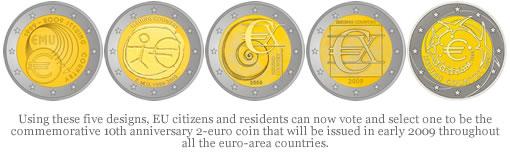 Commemorative 10th Anniversary 2-euro Coin Designs
