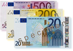 Examples of euro banknotes