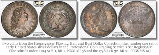 Two coins from the Hesselgesser Flowing Hair and Bust Dollar Collection, the number one set of early United States silver dollars in the Professional Coin Grading Service's Set RegistrySM.