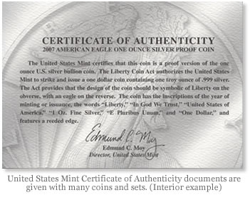 United States Mint Certificate of Authenticity documents are given with many coins and sets. (Interior example)