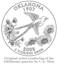 Original artist rendering of the Oklahoma quarter by U.S. Mint