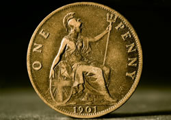 A 1901 one-penny coin depicting Britannia