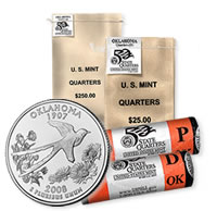 Oklahoma State Quarter Circulating: Bags and Rolls Available