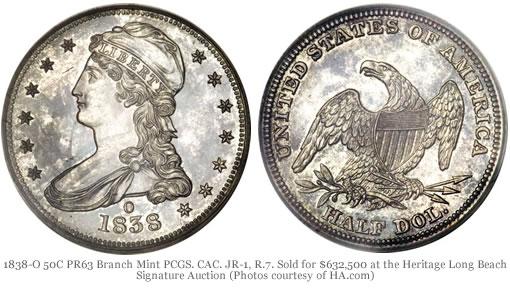 1838-O 50C PR63 Branch Mint PCGS. CAC. JR-1, R.7.