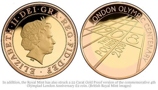 In addition, the Royal Mint has also struck a 22 Carat Gold Proof version of commemorative 4th Olympiad London Anniversary £2 coin. (British Royal Mint images)