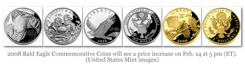 2008 Bald Eagle Commemorative Coins will see a price increase on Feb. 14 at 5 pm (ET). (United States Mint images)