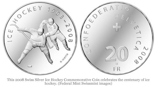 Swiss Silver Ice Hockey Centenary Commemorative Coin