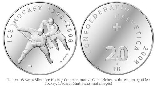 Swiss Silver Ice Hockey Centenary Commemorative Coin