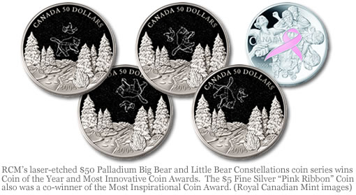 "RCM's laser-etched $50 Palladium Big Bear and Little Bear Constellations coin series wins Coin of the Year and Most Innovative Coin Awards.  The $5 Fine Silver ""Pink Ribbon"" Coin also was a co-winner of the Most Inspirational Coin Award. (Royal Canadian Mint images)"