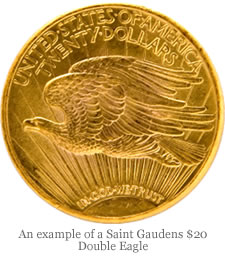 An example of a Saint Gaudens $20 Double Eagle
