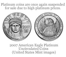 New Platinum Record, U.S. Mint Platinum Coin Sales Suspended