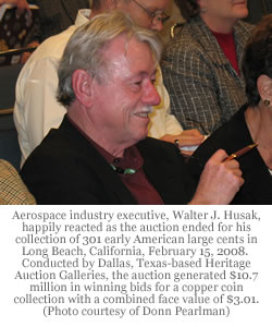 Aerospace industry executive, Walter J. Husak, happily reacted as the auction ended for his collection of 301 early American large cents. Photo credit: Donn Pearlman