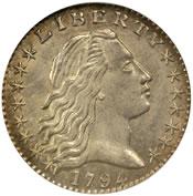 1794 Flowing Hair Half Dime Obverse