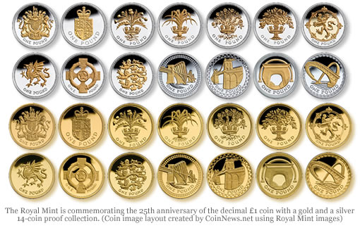 Royal Mint 25th Anniversary £1 Gold and Silver Coin Collections