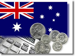 Australian coins and calculator