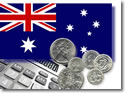 Australian Flag and coins