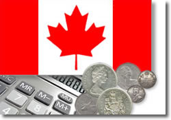 Canadian coins and calculator