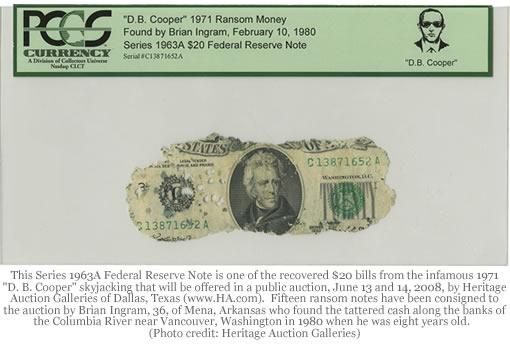 D.B. Cooper Series 1963A $20 bill