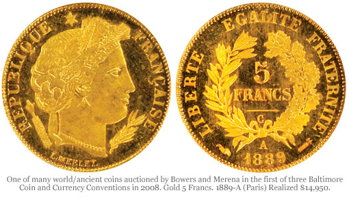 Gold 5 Francs. 1889-A (Paris)