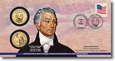 James Monroe $1 Coin Cover
