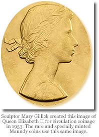 Mary Gillick image of Queen Elizabeth II used on Maundy money coins