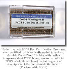 PCGS roll label