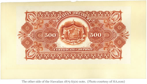 Rare 1879 Hawaiian $500 Note