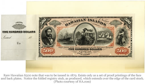 Rare 1879 Hawaiian $500 Note (Face)