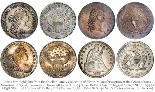 Several Queller Family Silver Dollars