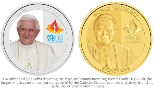 Silver and Gold coin depicting Pope and commemorating World Youth Day 2008