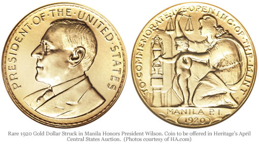Rare 1920 Gold Dollar Struck in Manila Honors President Wilson